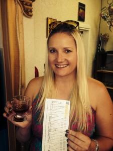 Trende Brende enjoying her first Texas wine tasting!